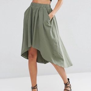 ASOS Luxe Cotton Green High Low Skirt